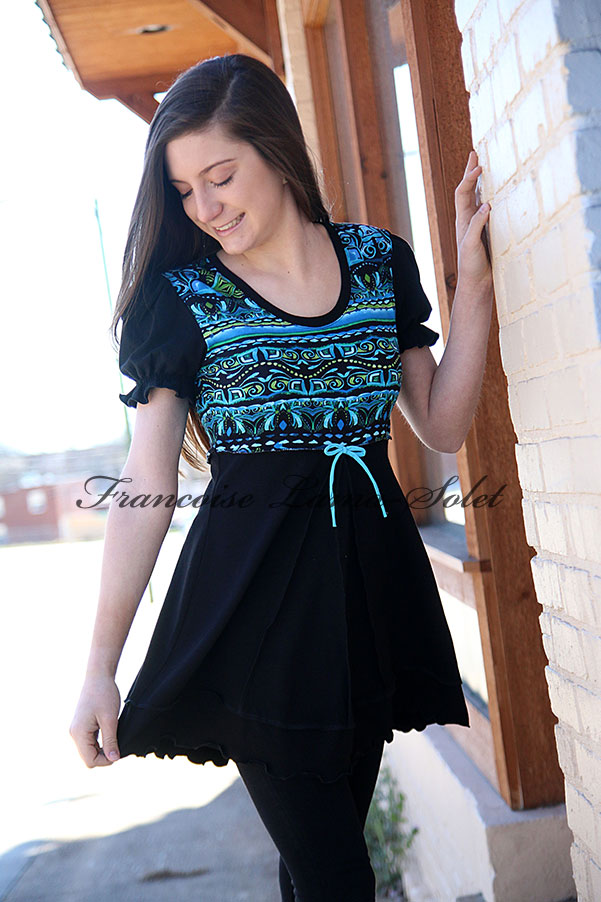 Puff sleeve black turquoise boho empire waist tunic Aztec