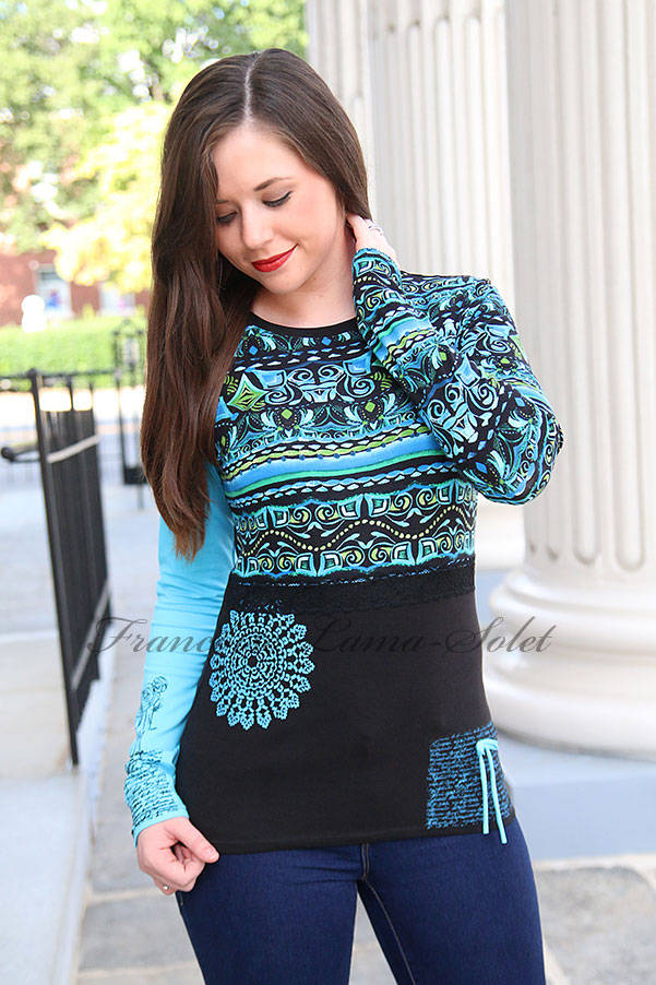 Artsy turquoise black hand printed patchwork long sleeve t-shirt Aztec