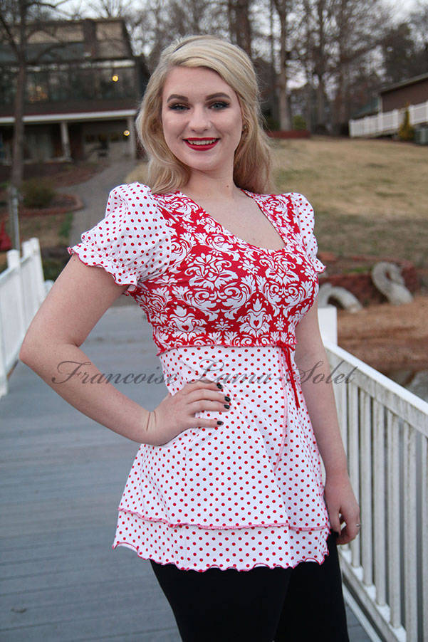 Retro tunic swing top Red white polka dot damask jersey top Barbara