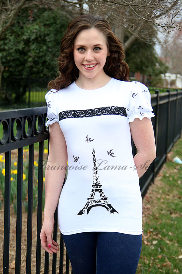 Womens romantic black white Eiffel Tower hand printed shirt Bonjour Paris