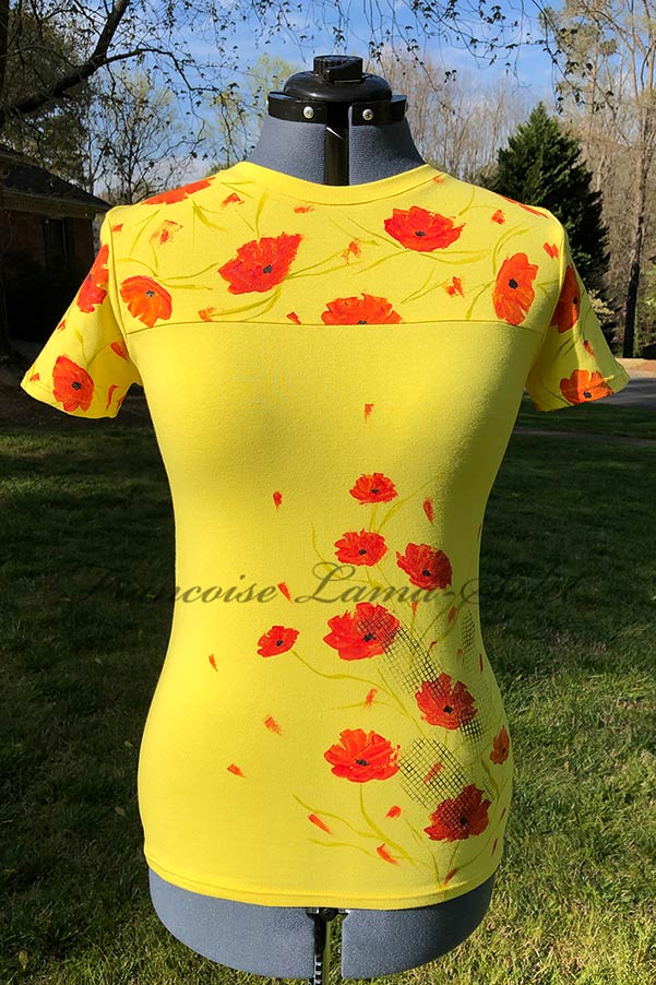Womens fitted short sleeve yellow floral tee handmade with cotton lycra jersey and hand painted with poppy flowers – California Poppies