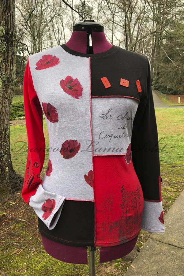 Artsy one of a kind red, black and grey long sleeve patchwork t-shirt hand painted and printed with poppies – Les Coquelicots