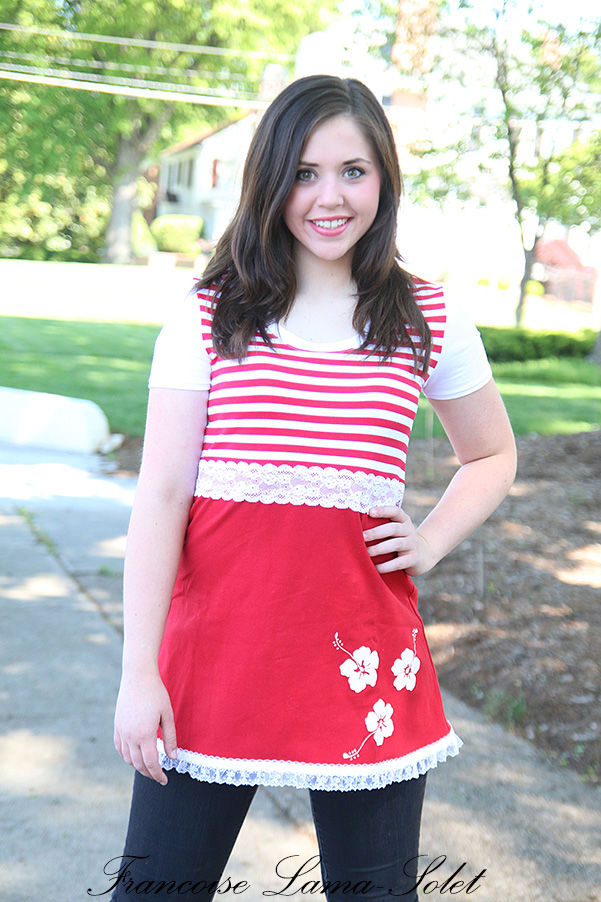 Women's short sleeve red white striped nautical A line tunic top Cruise