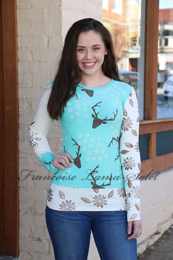 Womens Casual Hand Printed Long Sleeve T-shirt Fall Winter Fashion Deers in the Fall