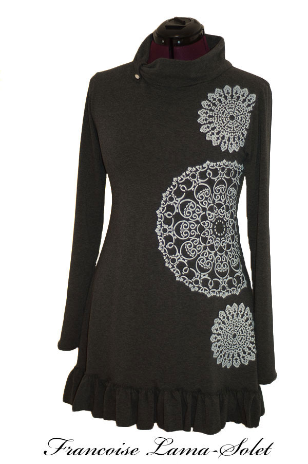 Minimalist long sleeve charcoal grey hand printed A line ruffled tunic Doilies