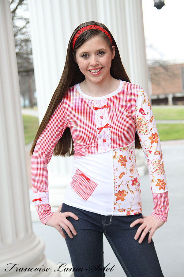 Women artsy red white gingham patchwork t-shirt Edith