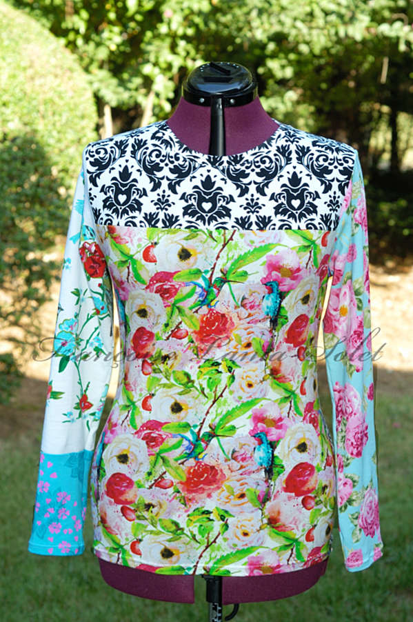 Colorful long sleeve patchwork tee handmade with floral and bird print cotton lycra jerseys - Elana