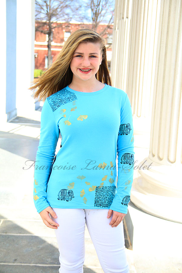 Hand printed elephant ginkgo flowers turquoise and black long sleeve t-shirt top Elephant Story