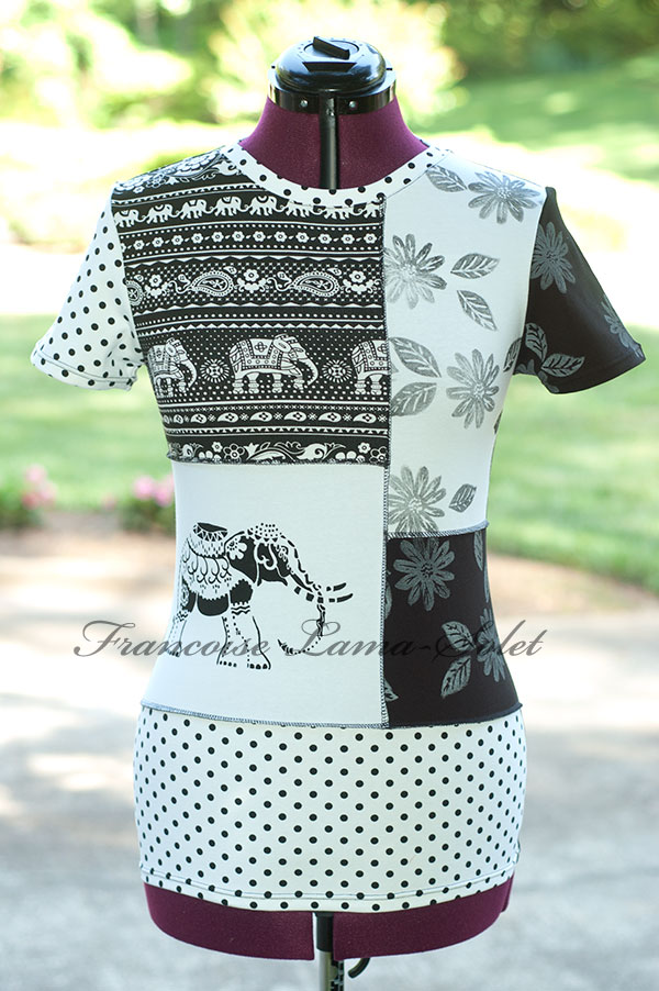 Artsy black and white patchwork t-shirt modern recycled top womens Elephant