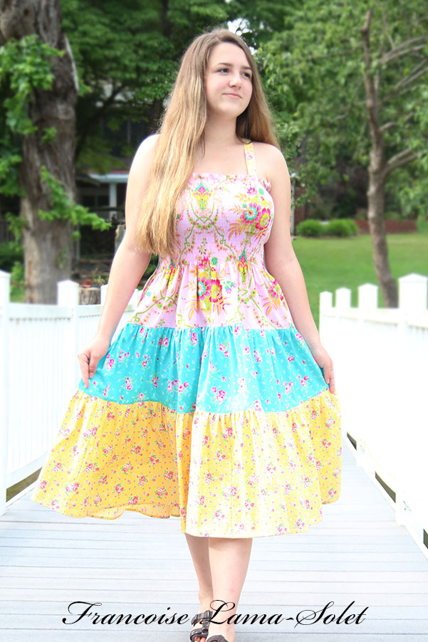 Women hippie boho floral patchwork tiered dress, bohemian pink blue yellow sundress Lucky Girl