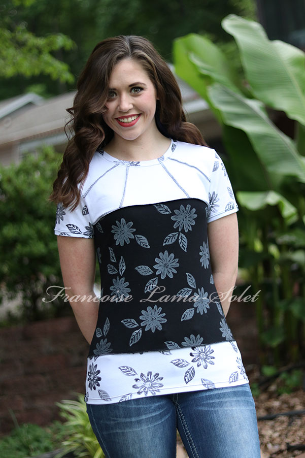Black and white hand printed floral modern art to wear top Monochrome Garden
