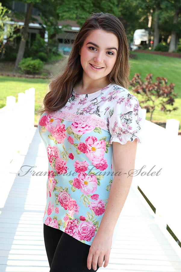 Romantic chic shabby puff sleeve floral bird casual t-shirt New Beginnings
