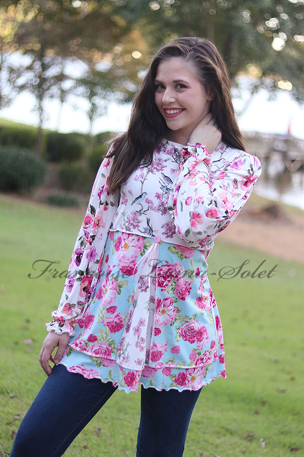 Romantic Long Sleeve Floral Bird Tunic Swing Top New Beginnings