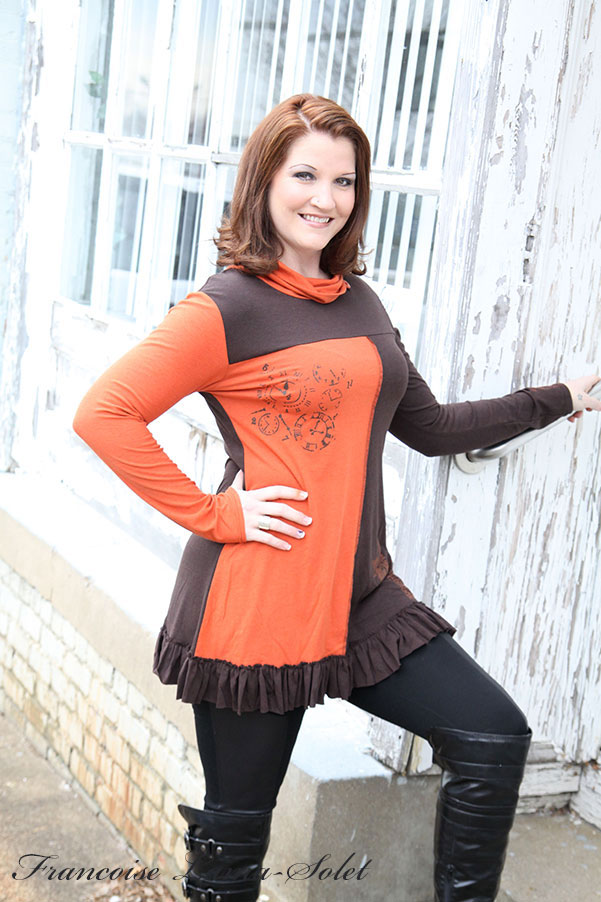 Fall winter hand printed asymmetric organic bamboo brown rust ruffled tunic Orange Pekoe