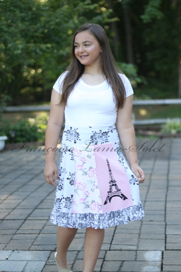 Patchwork a-line ruffled skirt handmade with pink, grey, black floral cotton jerseys and hand printed with the Eiffel Tower