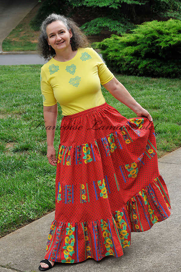 Bohemian tiered skirt, Provence long skirt, red yellow gypsy skirt, sunflower skirt, festival hippie skirt