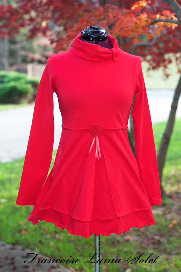 Plain red long sleeve fitted flared jersey tunic top, flattering blouse with cowl neckline, plus size long shirt