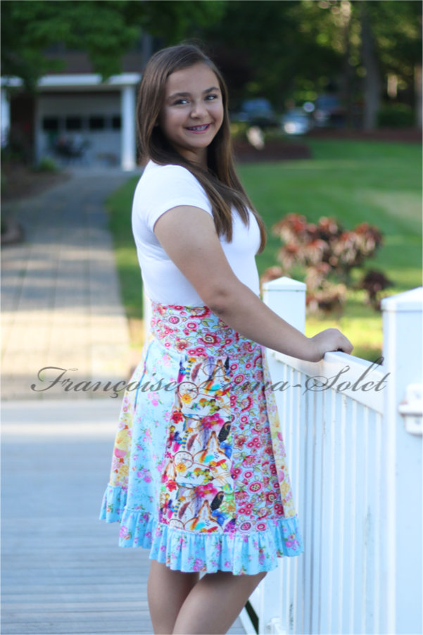 Modern feminine patchwork ruffled skirt with a urban style handmade with colorful floral cotton jerseys Summertime