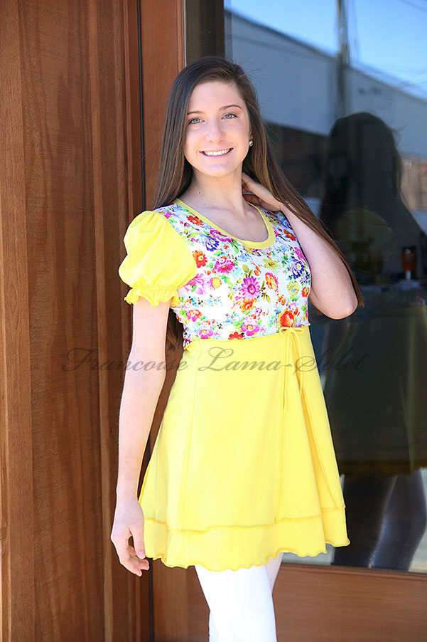Colorful floral swing top, yellow jersey tunic top, puff sleeve long shirt, spring summer boho chic clothing