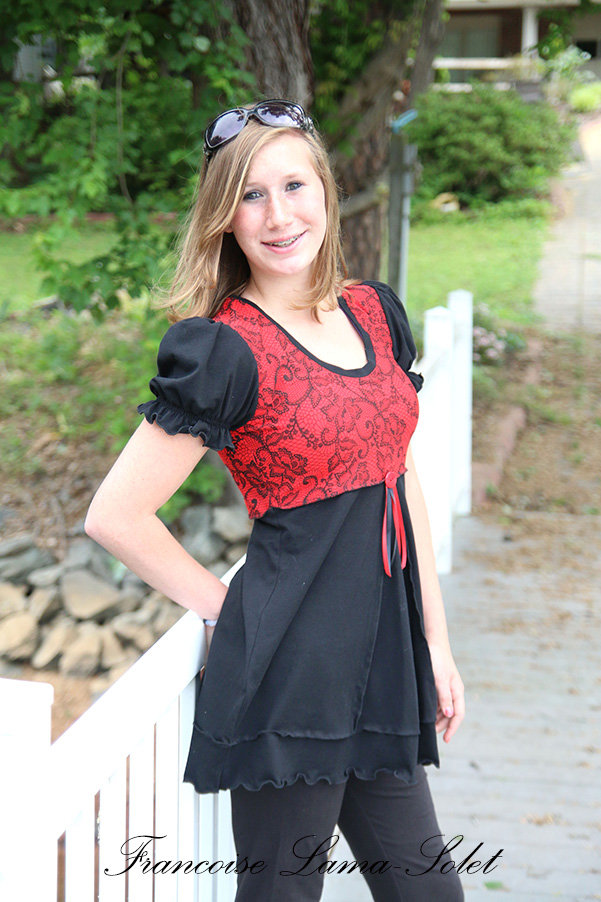 Red black lace jersey tunic short puff sleeve flared tunic top Tango