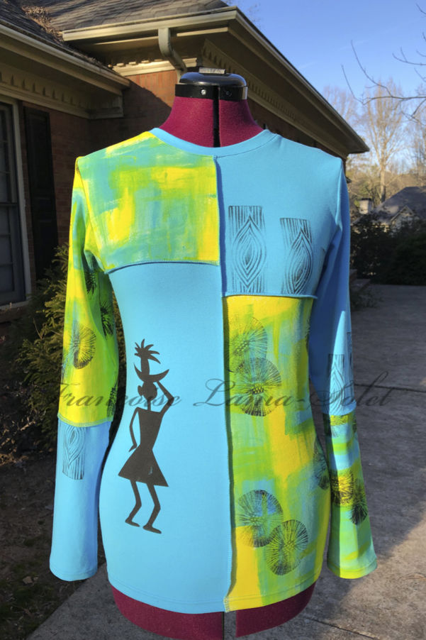 Colorful wearable art long sleeve t-shirt hand painted with yellow, green and turquoise abstract print and hand printed with tribal patterns – Tribal Vibes