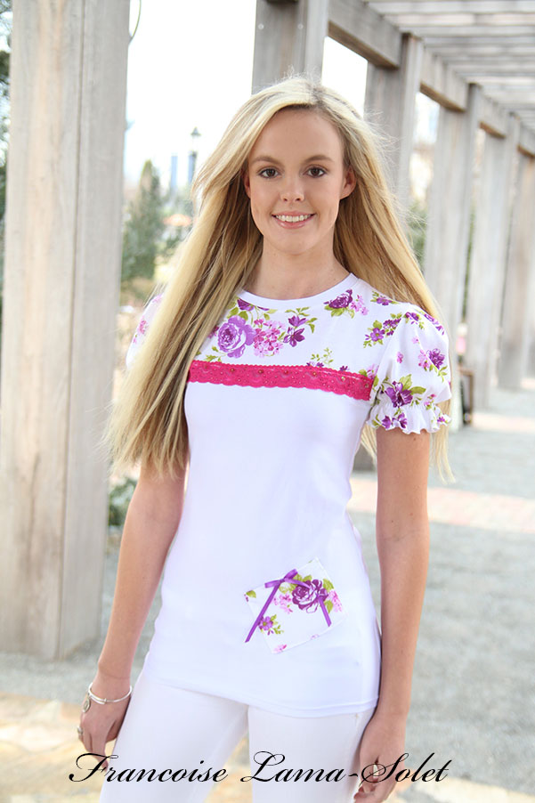 Purple white puff sleeves spring summer women's floral romantic jersey t-shirt Violette
