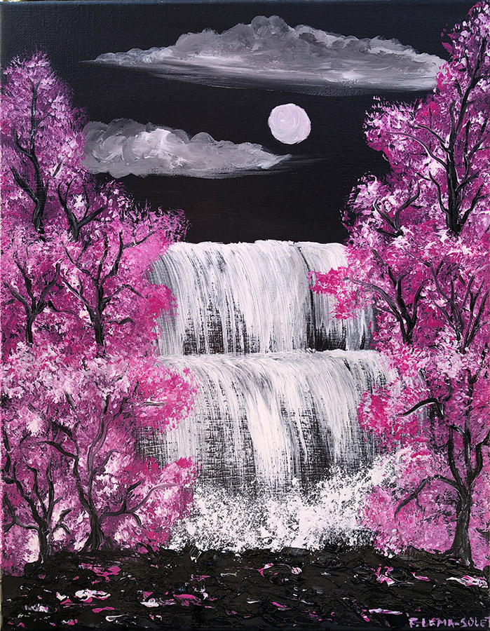 Original Grey And Pink Contemporary Abstract Landscape Painting On Canvas With Cherry Blossom Trees Waterfalls By Night