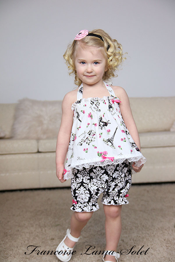 Baby girl toddler Easter birthday white pink black romantic chic shabby floral halter top bloomers set Fleur de Paris