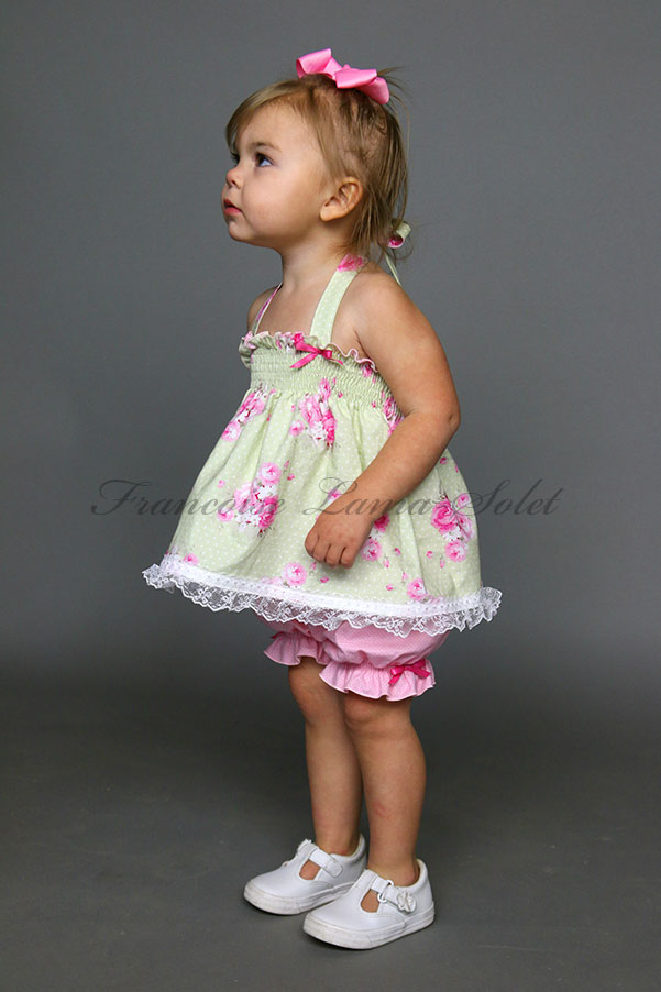 062e51e074ff Baby girl toddler Easter birthday pink green romantic chic shabby floral  halter top bloomers set Princess