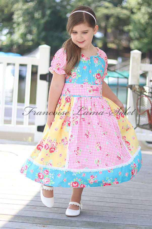 Girl's blue yellow pink colorful floral patchwork peasant twirl dress with short sleeves Amelia