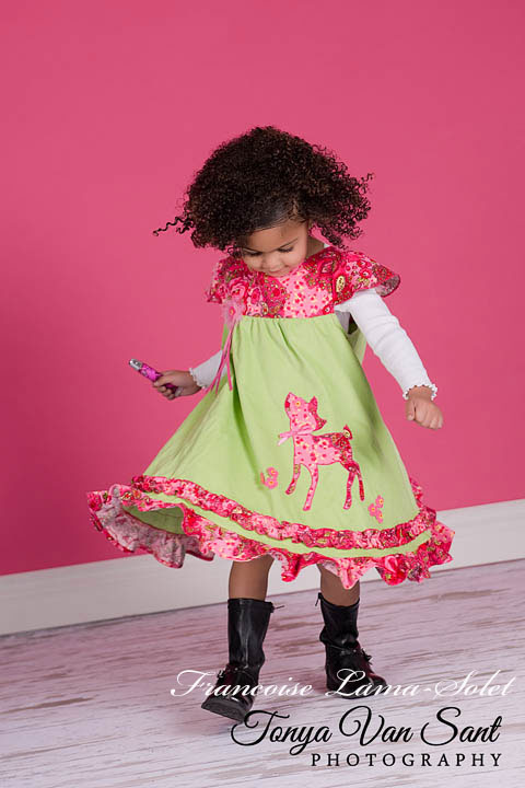 Girl's fall winter ruffled twirl dress handmade with green and pink corduroy and applique with a deer Beautiful Day