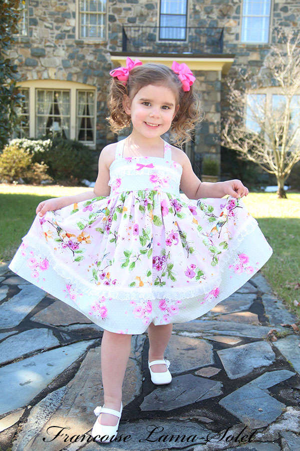 Girl's Easter birthday apron twirl dress handmade with green and pink floral romantic prints Birds in the Spring