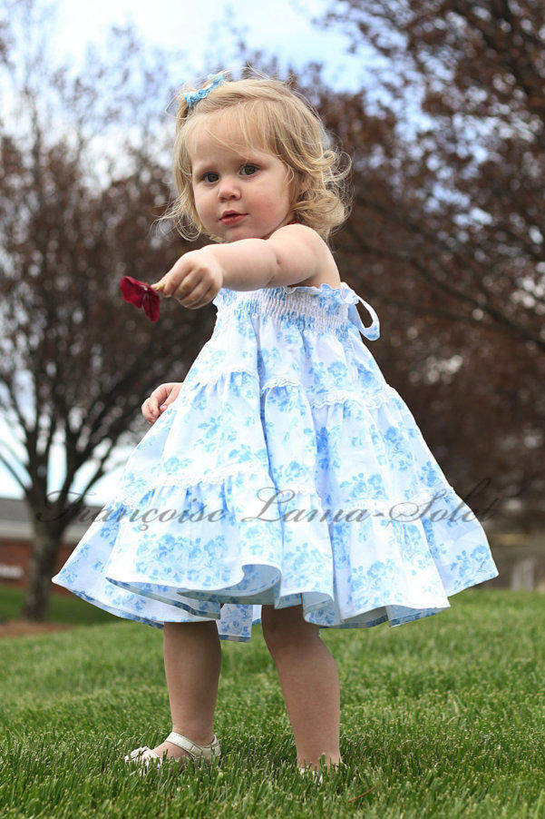 Girl's romantic twirl tiered dress handmade with a floral white and blue cotton print Blue Bouquets