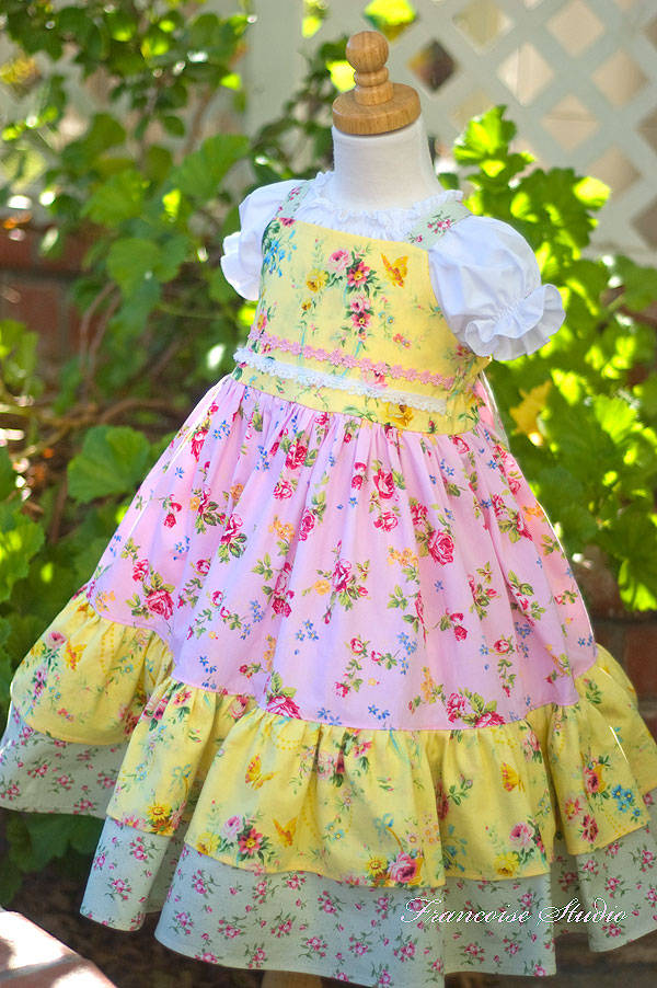 Girl's one of a kind floral apron twirl dress in the shades pink, green and yellow Bouquet Champetre Size 6/7