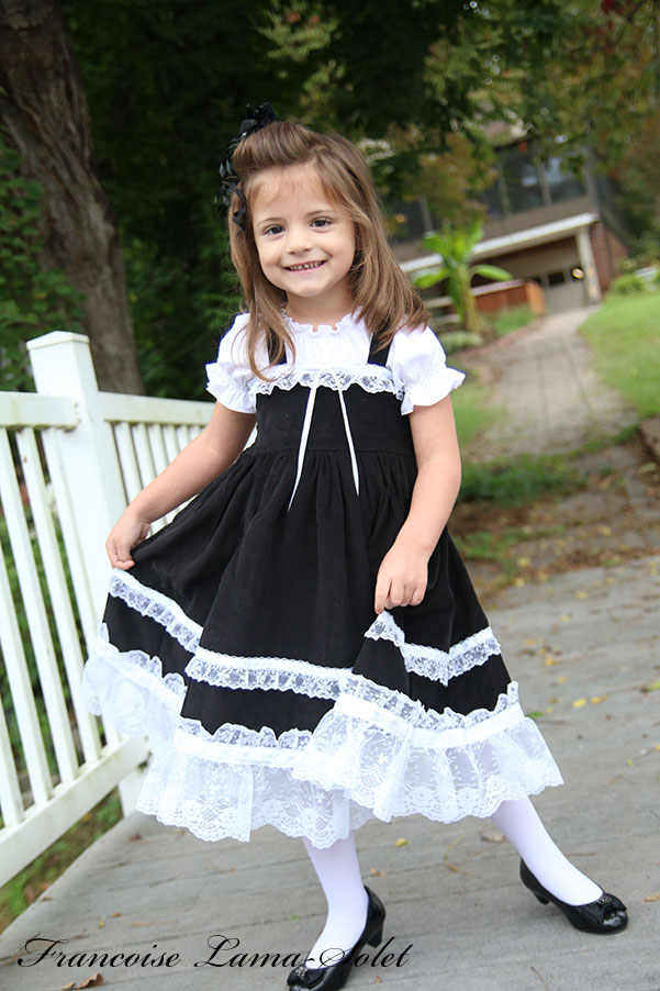 Girl's formal twirl dress handmade with black corduroy and white lace trims and ruffles Clara