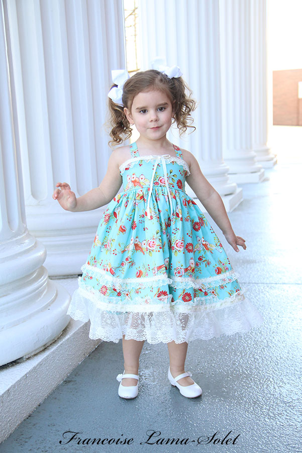 Girl's romantic chic Easter birthday turquoise floral dress with birds Clara