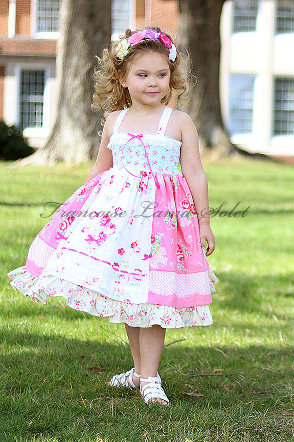 Girl's romantic patchwork ruffled twirl dress handmade with shabby floral pink and blue prints Country Rose Pink