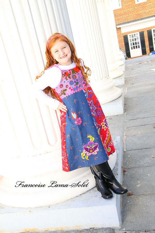 Girl's colorful applique floral jumper dress handmade with red corduroy and denim Crazy Flowers