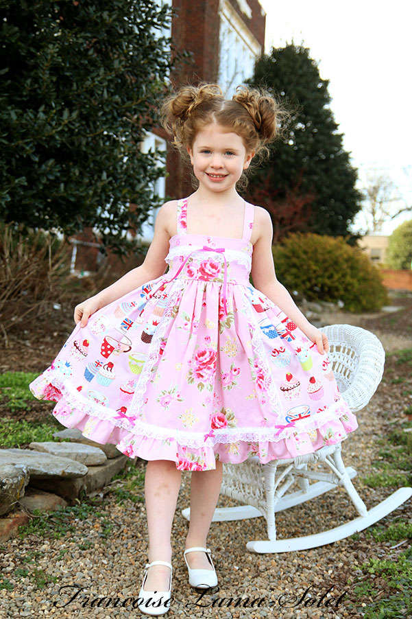 Girl's cupcake ruffled dress, pink tea party birthday twirl dress Cupcake Party
