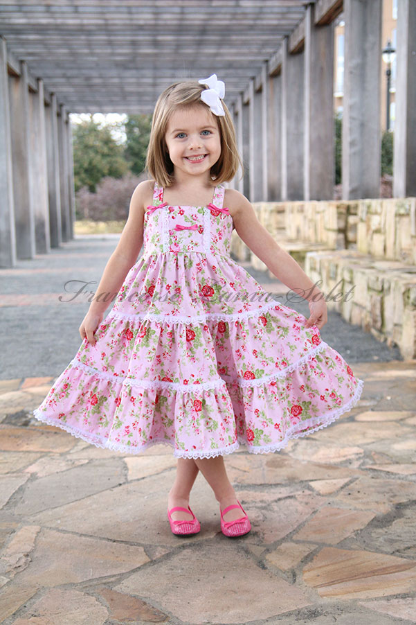 Girl's pink tea party birthday romantic shabby chic twirl dress Delilah Pink