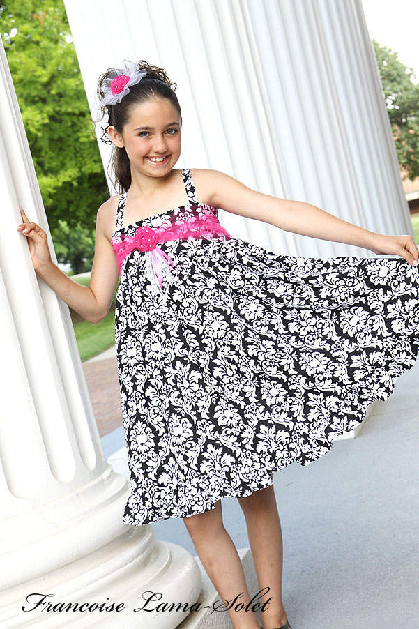 Girl's damask formal black white pink ruffled twirl dress Kentucky Derby Marianne