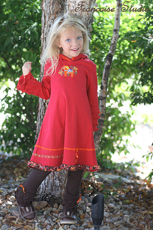 Girl's fall winter long sleeve Swedish dala horse red hoodie jersey dress Fall in Stockholm