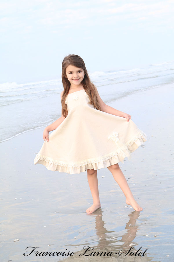 Girl's organic flower girl church ivory white linen twirl dress Flower Belle