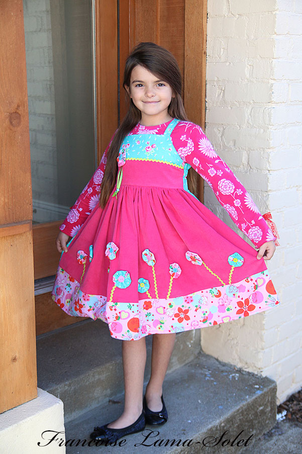 Girl's fall winter pink blue embellished corduroy apron twirl dress My Garden