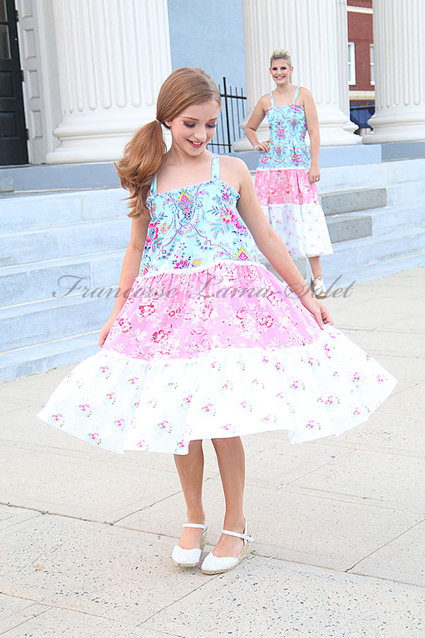 Girl's spring summer pink blue white romantic chic floral tiered halter dress Happy Days