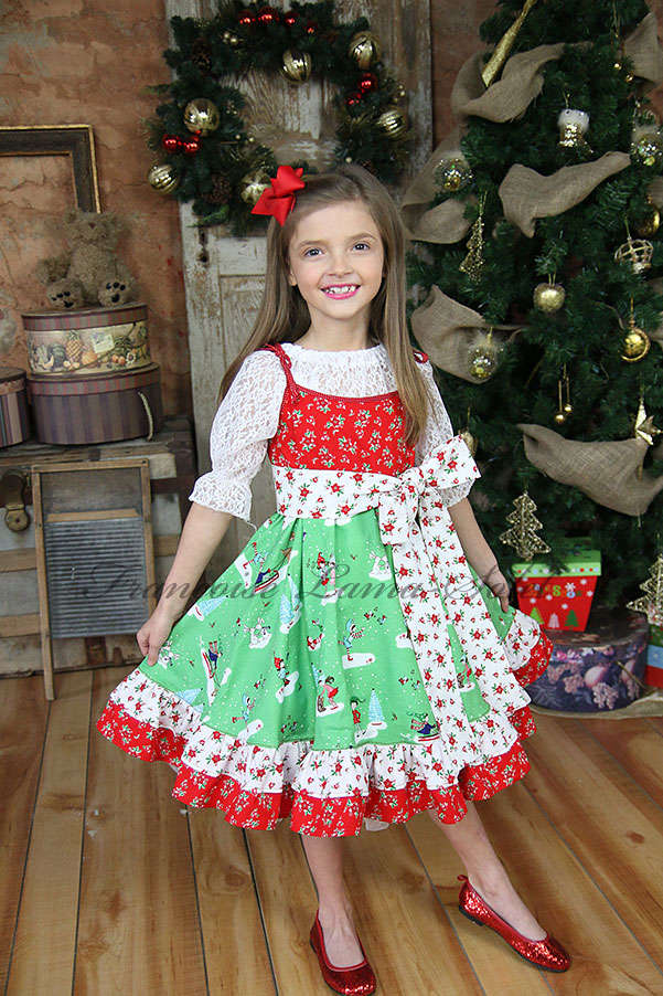 Girl's Whimsical Christmas Holiday red green white patchwork ruffled slip dress Holiday Pixie
