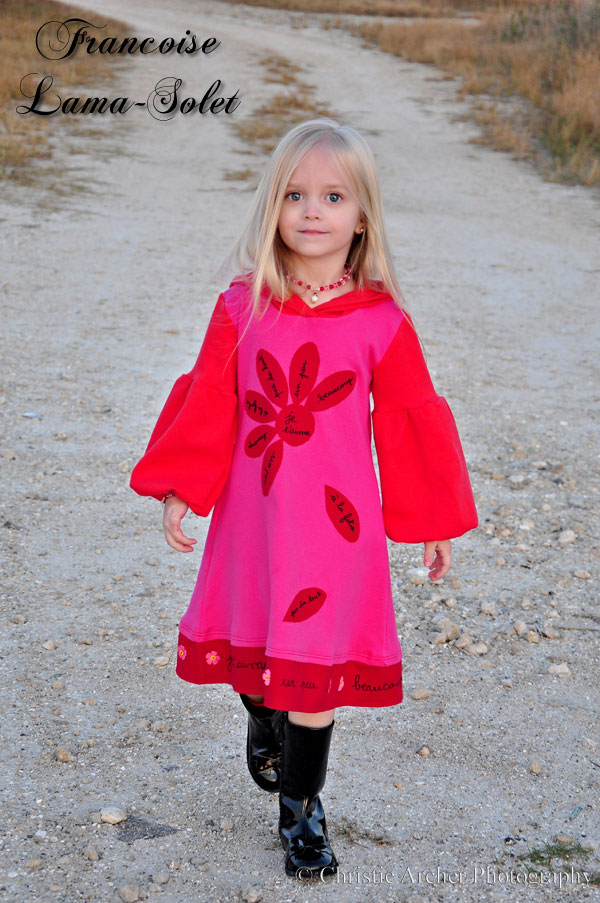 Girl's unique Valentine hand printed applique red pink hoodie jersey dress Je t'aime