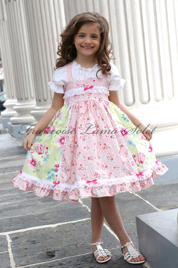 Little Girls' Easter Birthday Green Pink Floral Ruffled Dress Jolie Fleur