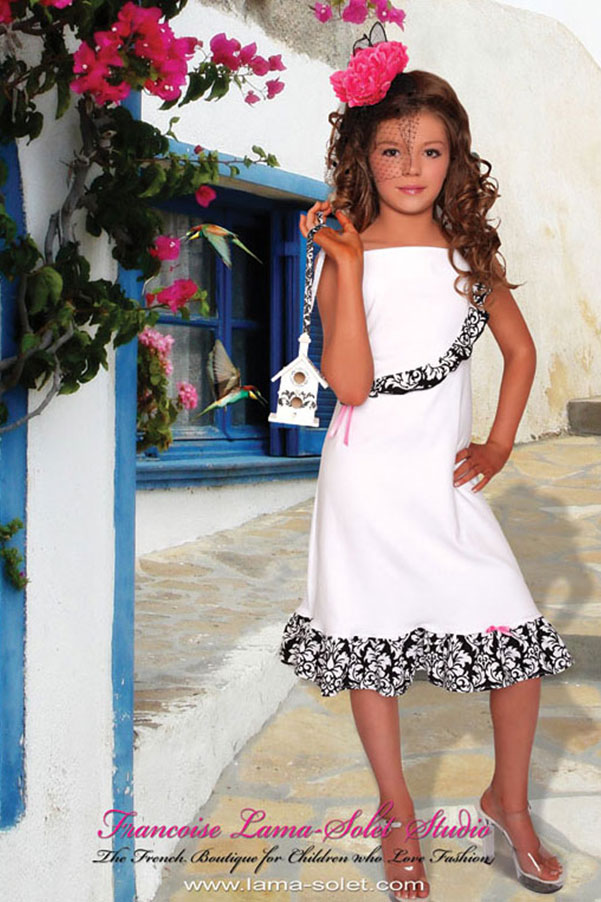 Girl's black white damask a-line ruffled jersey dress Manoir Diane