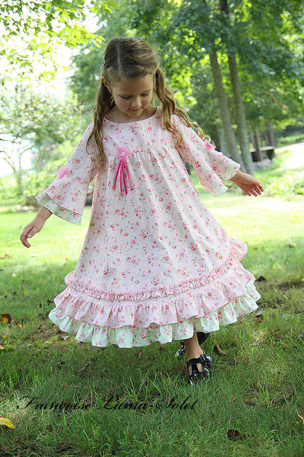 Girl's Easter birthday flower girl portrait romantic chic pastel floral ruffled twirl dress Paris Chic Angelique